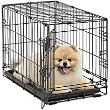 Dog Crate | MidWest iCrate XS Folding Metal Dog Crate w/Divider Panel, Floor Protecting Feet & Leak-Proof Dog Tray | 22L x 13W x 16H inches, XS Dog Breed, Black