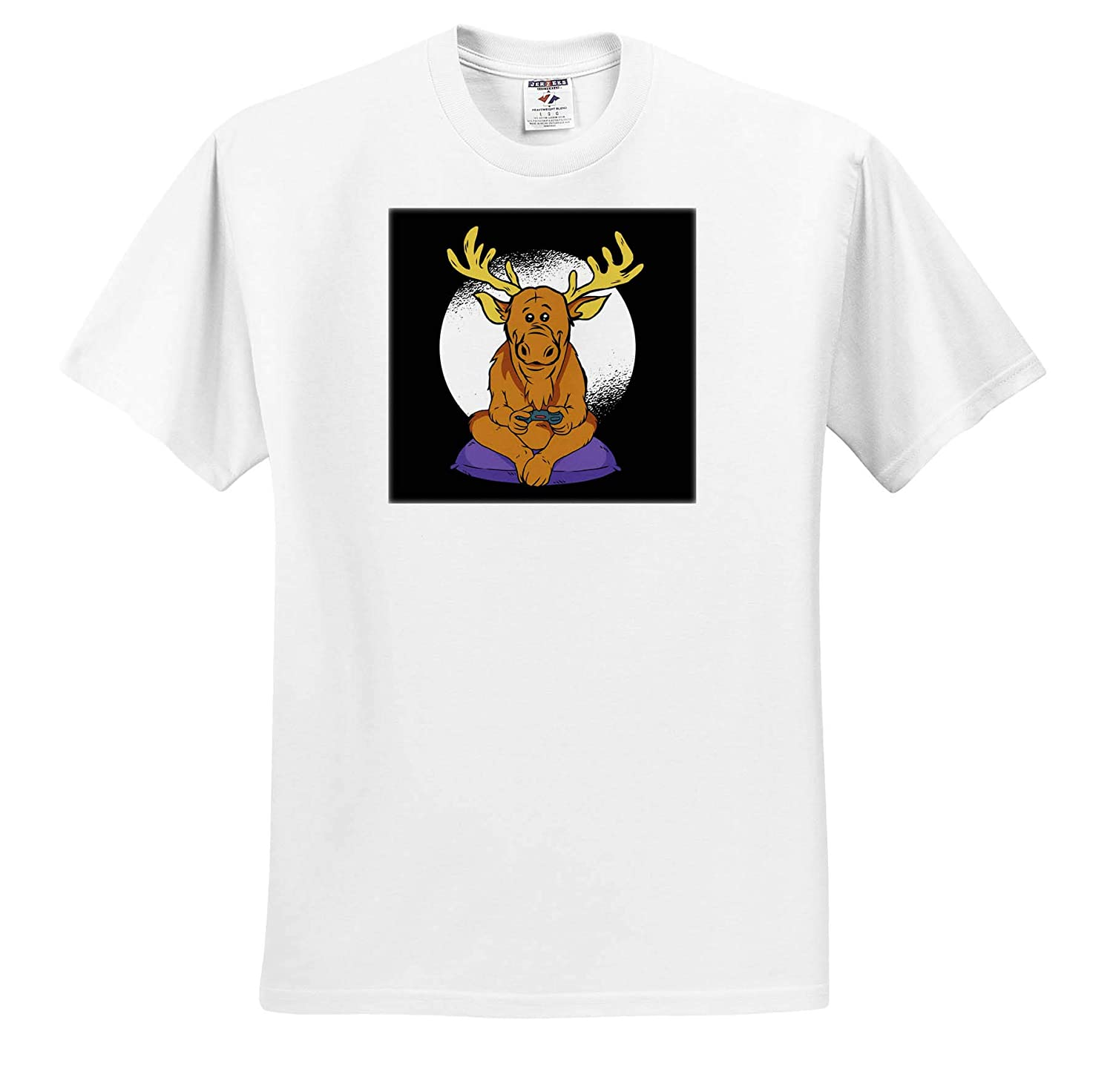 Adult T-Shirt XL Comic Cartoon Deer who is Playing Video Games 3dRose Sven Herkenrath Animal ts/_317540