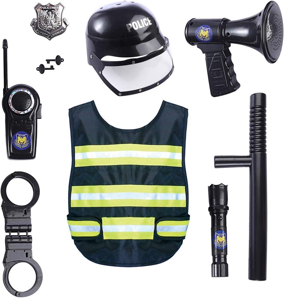 Yavso Disfraz Policía Niño - 9Pcs Policía Juguete Set de Juegos de ...