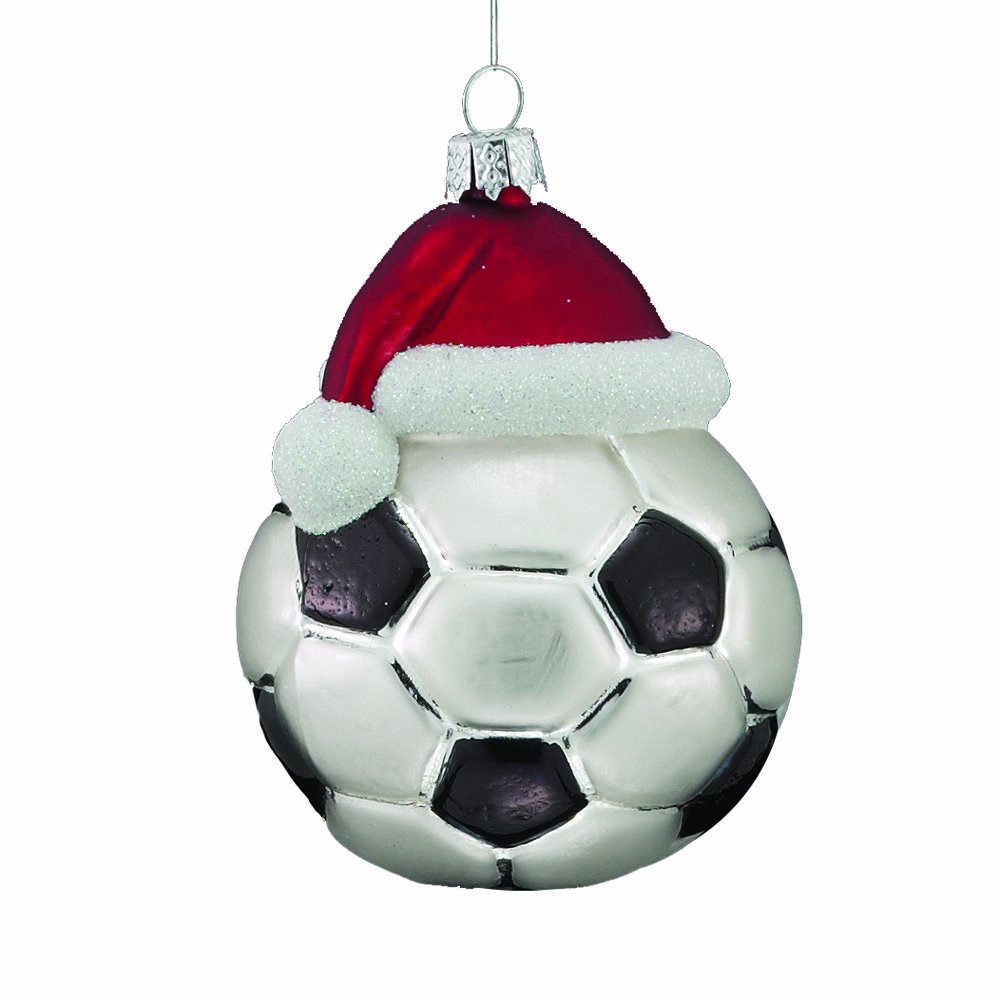 Glass Soccer Ornament with Santa Hat
