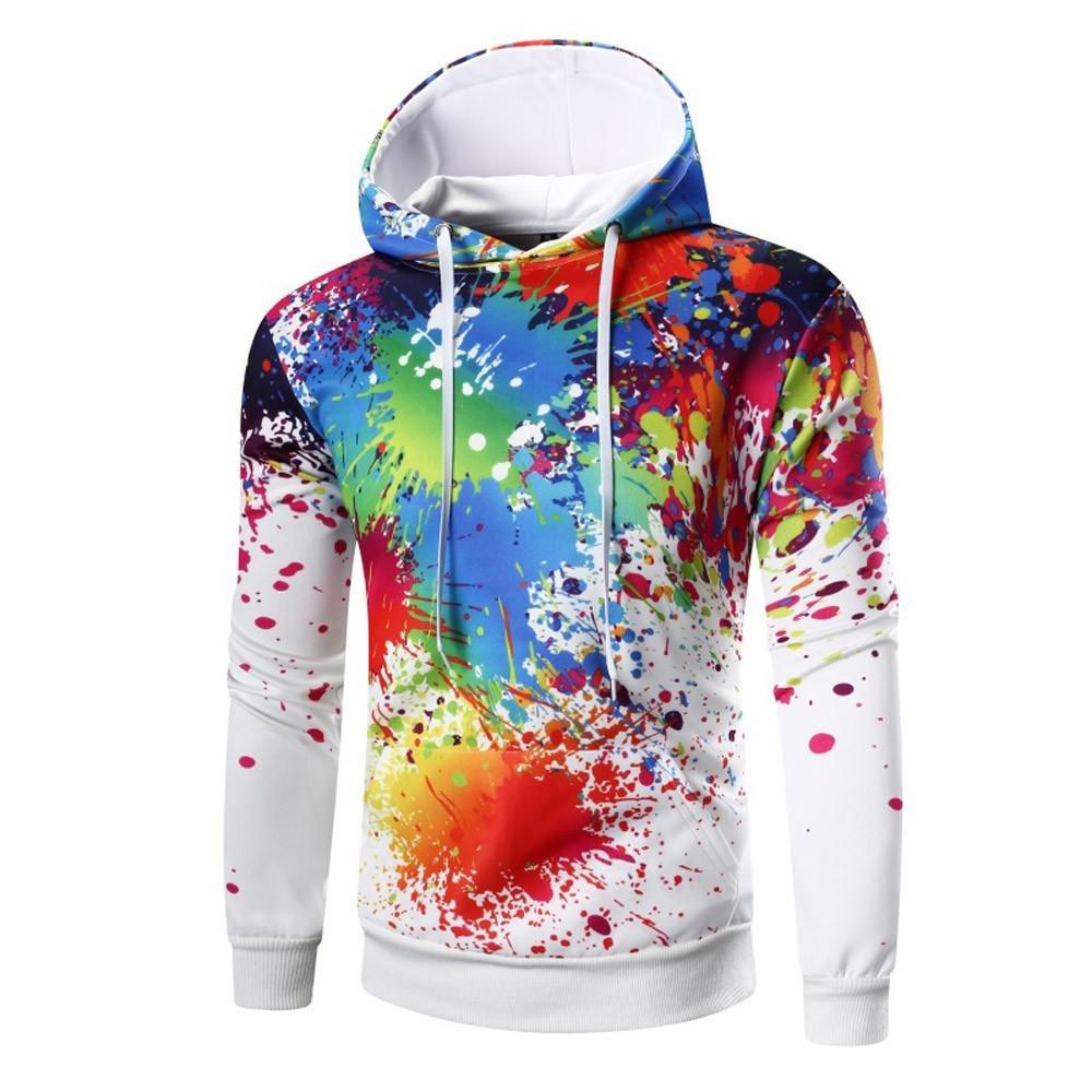 VIASA_ Mens Cream Dress Shirt, Colourful Print Hoodie Blouse Tops, Long Sleeve Sweatshirt Coat (White, 3XL)