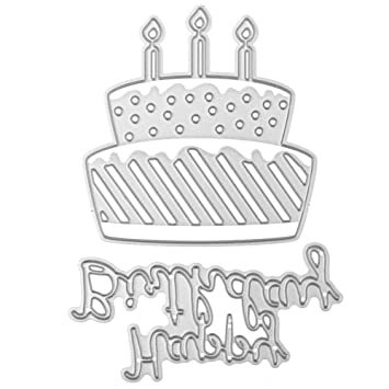 Demiawaking Happy Birthday Cake Cutting Dies Stencils DIY Decoration Metal Embossing Template Frame For Scrapbooking Album