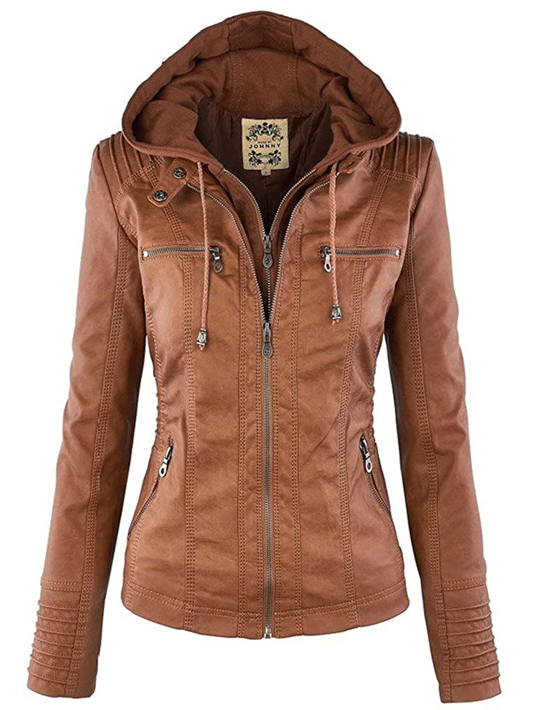 DOKER Women's Fashion Hooded Fake Two Piece Faux Leather Jacket DC1220002