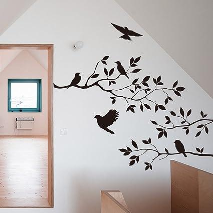 Amazon.com: Black Bird Tree Branch Wall stickers Wall Decal ...