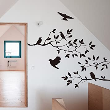 Black Bird Tree Branch Wall Stickers Wall Decal Removable Art Home Mural  Decor