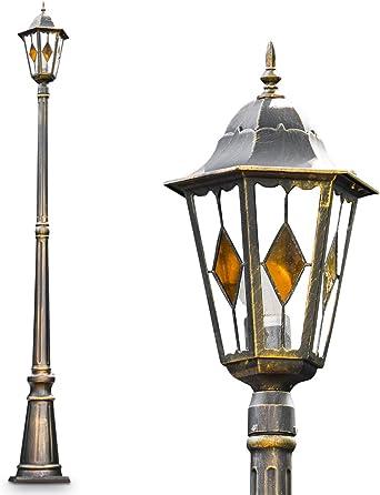 Farola Antibes de AULU fundido en marrón/oro, 1 de techo poste para jardín – Lámpara de pie con la protección exterior IP44: Amazon.es: Iluminación