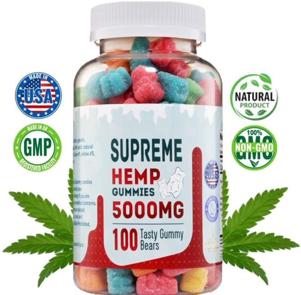 Supreme Hemp Gummies – 5000mg- 120ct – Organic Hemp Extract Infused – Relaxing, Pain Relief, Stress & Anxiety Relief, by New Age Naturals
