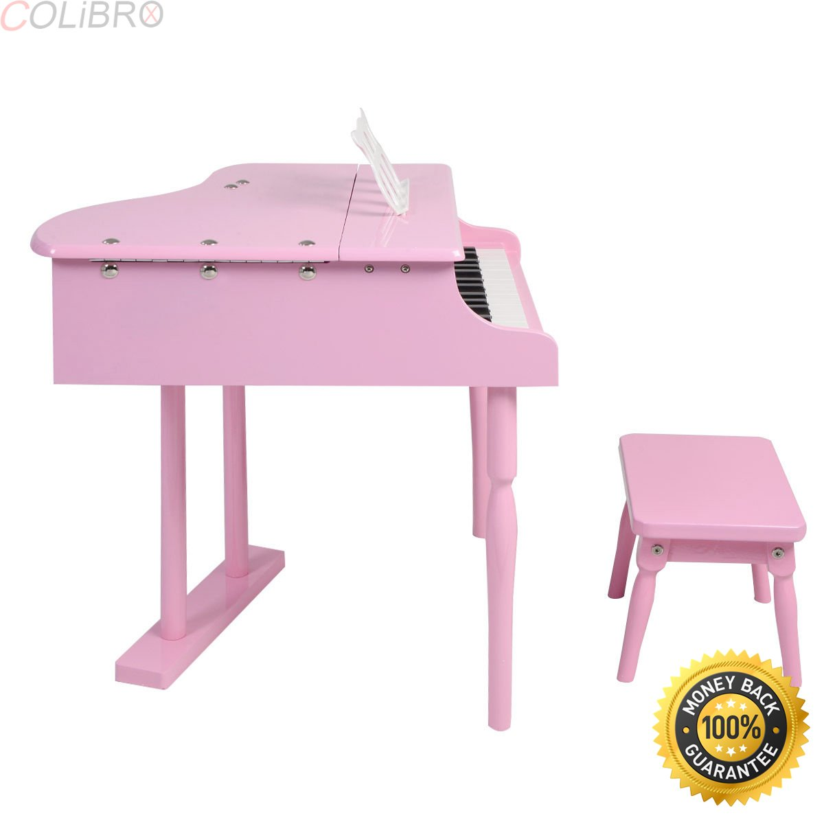 COLIBROX--Childs 30 key Toy Grand Baby Piano w/Kids Bench Wood Pink Christmas Gift. learn-to-play children grand piano features 30 great sounding keys producing a charming tune which can make.