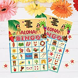 luck sea Luau Bingo Game Party Supplies - Hawaiian Tropical Decorations Favors 24 Players