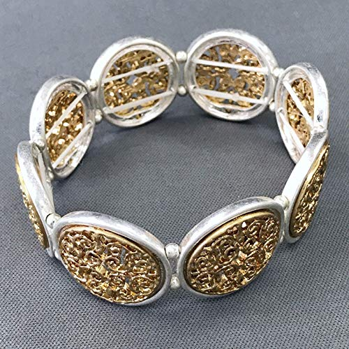 Silver Gold Finished Filigree Design Circle Shape Stretchable Bangle Bracelet -