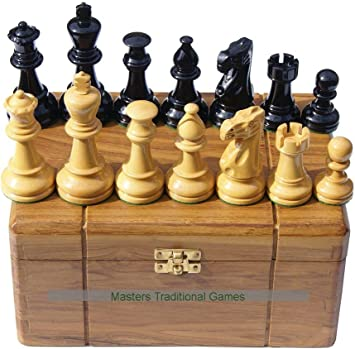 Masters Traditional Games Jester 10 x 10 Chess Set - Black/Natural in Teak Box (3.75 Inch King, no Board): Amazon.es: Juguetes y juegos
