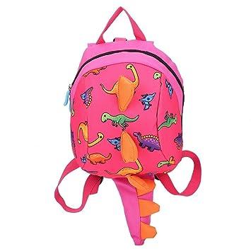 Mochila de dinosaurio Mochila para niños, mochila de dibujos animados, merienda, bolsa de almuerzo, mochila de viaje con arnés de seguridad, correa ...