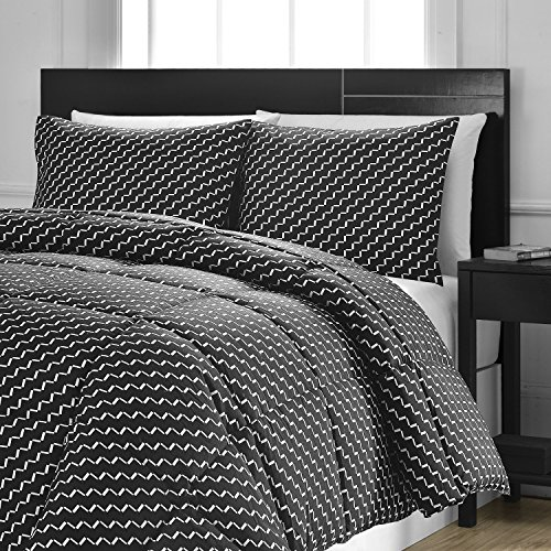 Reversible Comforter 3-Piece Set - Down Alternative Medium Weight by ExceptionalSheets, Full/Queen, Domino