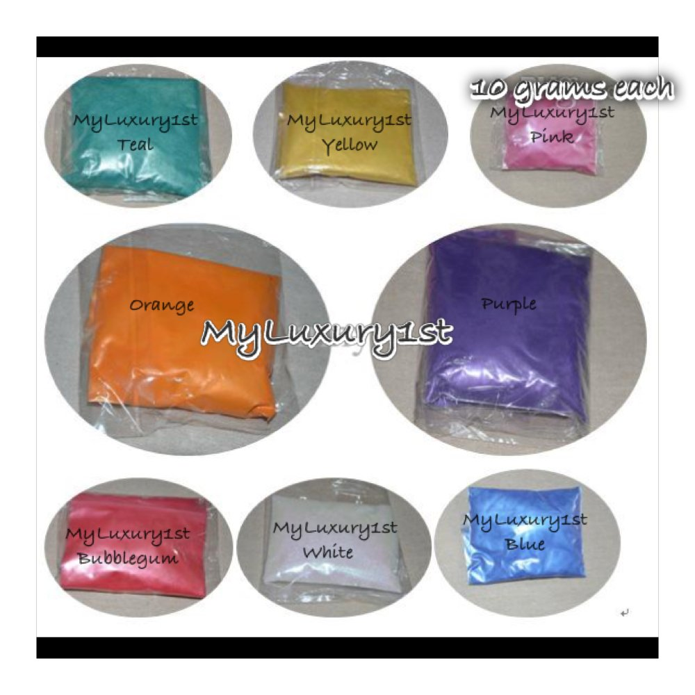 80 Grams Mica Colorants Lot of 8 Cosmetic 10g JARS Soap and Craft Color Pigment Powders Teal Yellow Pink Orange Purple Bubblegum White Blue