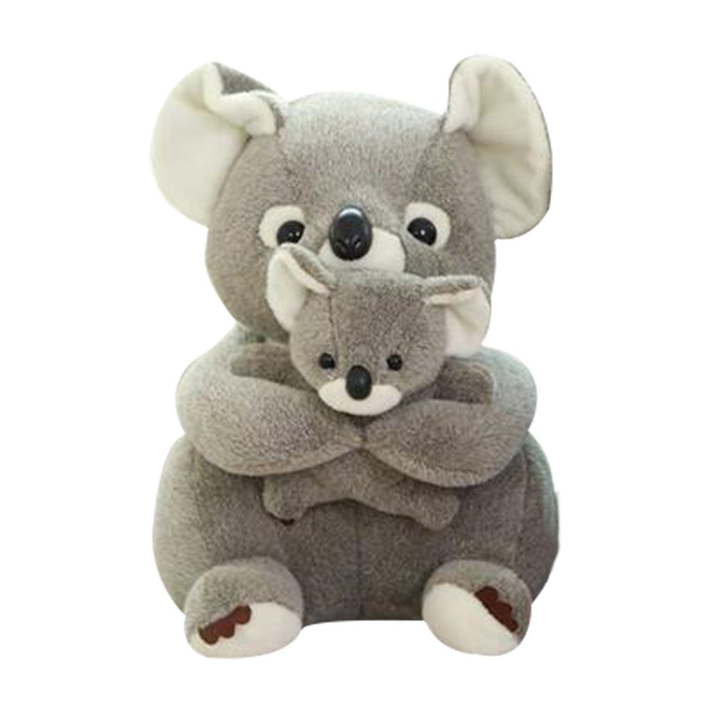 leyoubei Mother and Baby Koala Pre-Kindergarten Toys soft toys lumbar pillow,Stuffed Animal Plush Toys Gifts for Kids Children - 11in/5in Gray