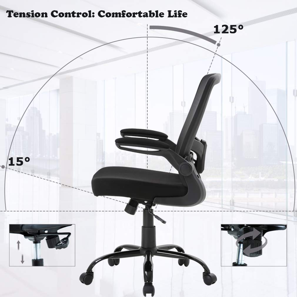 Ergonomic Office Chair Cheap Desk Chair Mesh Computer Chair with Lumbar Support Flip Up Arms Swivel Rolling Adjustable Mid Back Computer Chair for Women Men Adults,Black by BestOffice (Image #6)