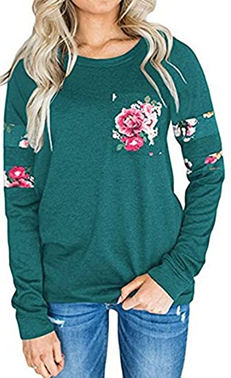 dd7f378cb5e3 Leslady Damen beiläufige Langarm-T-Shirt Pullover Sweatshirt Kapuzenpullis  Casual Blumen Bluse Oberteile Tops