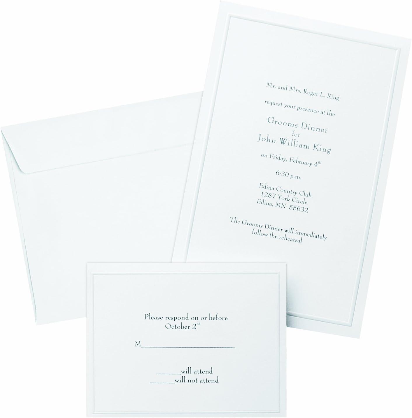 Gartner Studios Border Wedding Invitation Kit, Pearl White, 50-Count (61001)