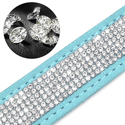 Image of Didog Soft Rhinestone Studded Custom Dog & Cat Collars - Sparkly Crystal Studded for Small Medium Large Dogs,Blue,XS Size