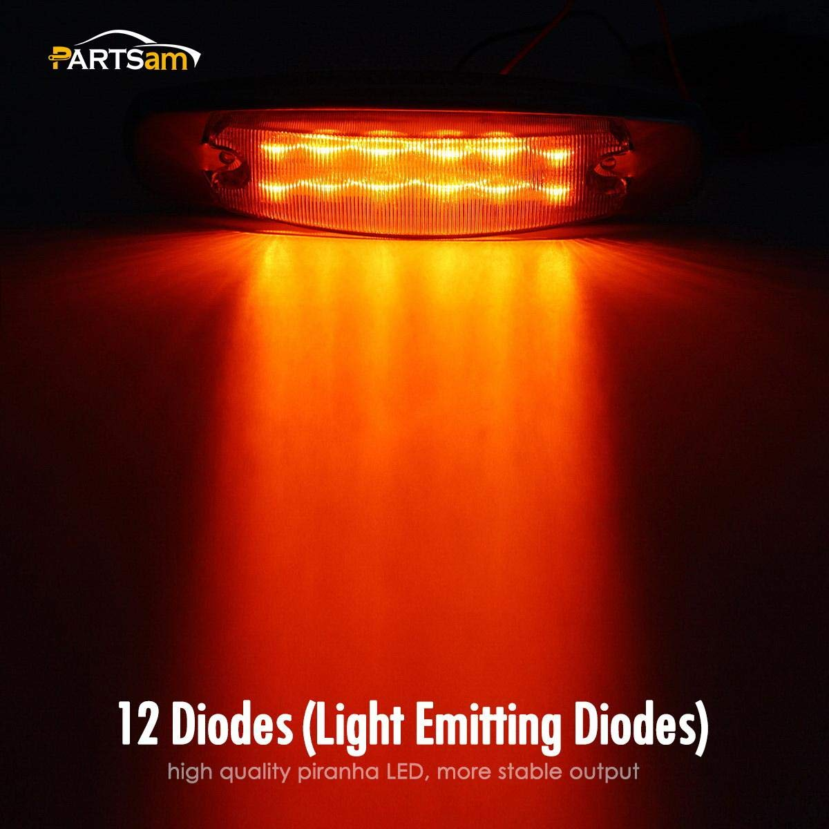 Partsam Pack10 Sealed Peterbilt-style 12 Amber LED Diode Side Marker Clearance Lamp Clear Lens Surface Mount 2 rows of 6 diodes Stainless Trim