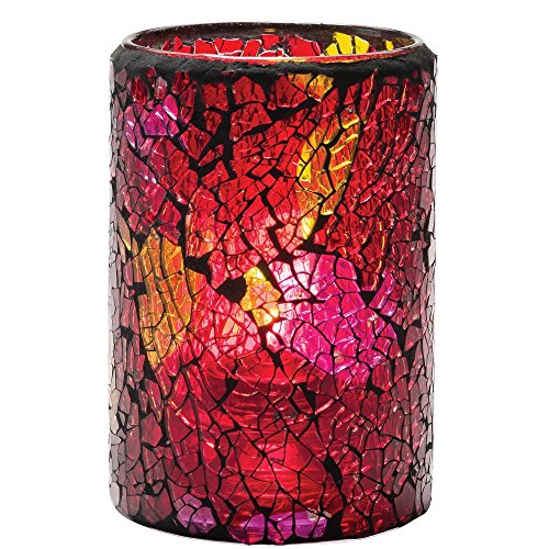 Hollowick 43017RG Crackle Red & Gold Cylinder Glass Lamp