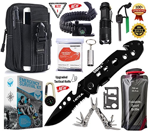 SIGMA - Emergency Survival Gear Kit, Upgraded Tactical Knife & Outdoor Camping Tools – Military Molle Pouch & Survival Bracelet For Camping, Hiking, Hunting, Driving, Fishing, Biking & Earth-quack