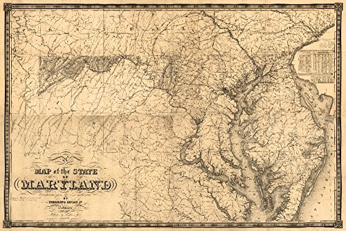 (Maryland - (1841) - Panoramic Map (12x18 Art Print, Wall Decor Travel Poster))
