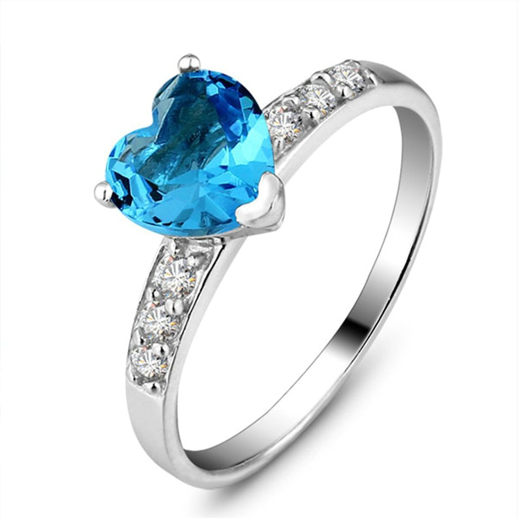 Bishilin Silver Plated Heart Shape Blue Cubic Zirconia Inlaid Women Wedding /& Promise Ring Size 8