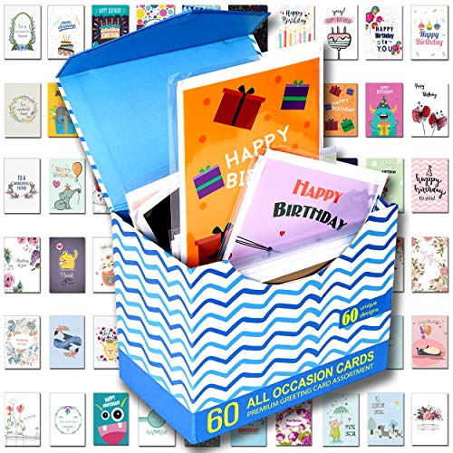 60 Pack Assorted All Occasion Greeting Cards - 60 UNIQUE DESIGN, BIG 5x7