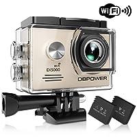 DBPOWER® EX5000 Originale Versione WIFI 14MP FHD Sport Action Camera Impermeabile con 2 batterie e kit accessory inclusi (Argento)