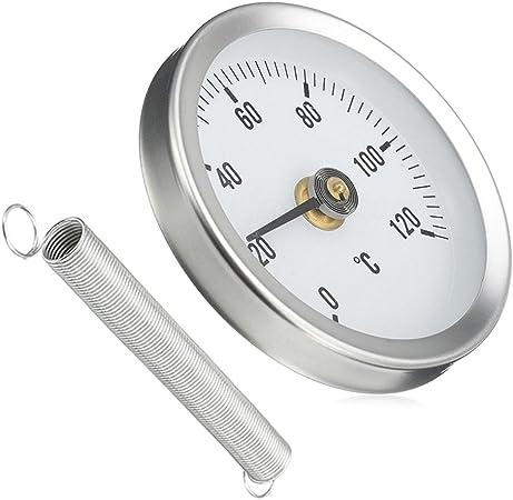 4 x Rohr Thermometer Temperaturanzeige mit Clip-On Feder 0-120 ℃ 63mm