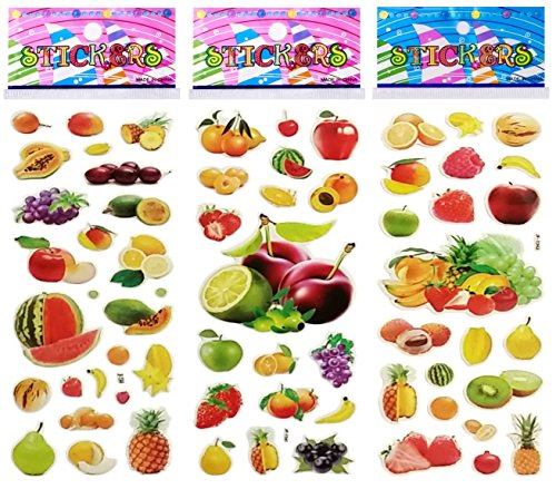 Dimensional Stickers Fruit (6 Sheets Puffy Dimensional Scrapbooking Party Favor Stickers + 43 FREE Smiley Puffy Stickers - Fruit)