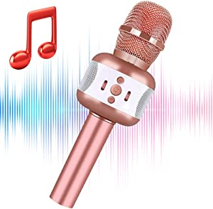 LEERON Microphone for Kids,Portable Handheld Wireless Bluetooth Karaoke Mic Machine for Home Party KTV Outdoor Favor Singing , Fun Toys for Teen Boys Girls Birthday Christmas Best Gifts Age 5 6 7 8 9