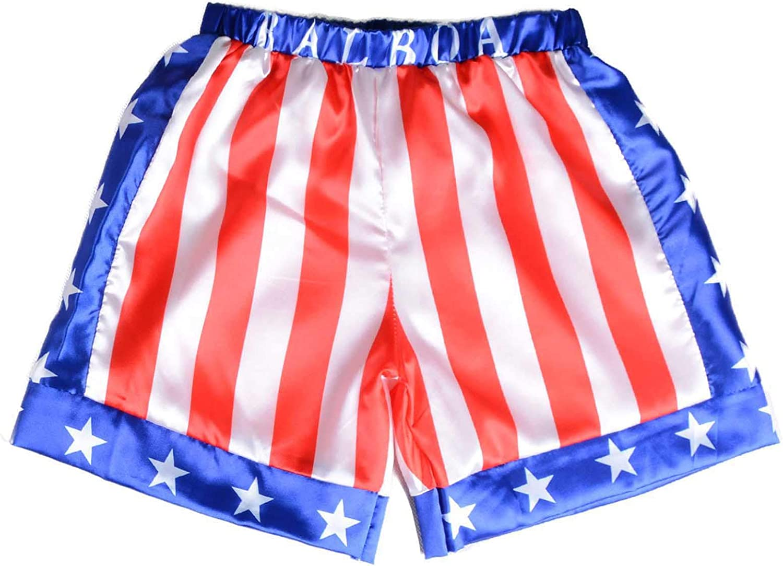 Rocky Balboa Mens Apollo Movie Boxing American Flag Shorts Trunks boxers