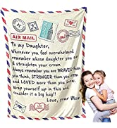 CHAOMIC to My Daughter Blanket from Mom, Daughter Blanket, Flannel Throw Blanket for Kids and Adults