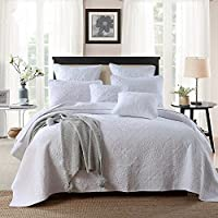Brandream Luxury Embroidery Bed Quilt Set White Bedspread, 3pcs,Queen Size