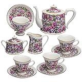 Grace Teaware 11-Piece Porcelain Tea Set (Wild Chintz)