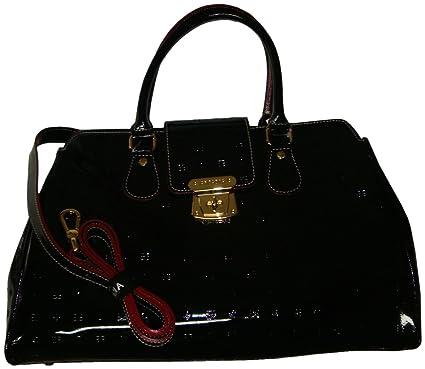 f0d3ec9964ba Amazon.com  Arcadia Patent Leather Purse Handbag Black  Clothing