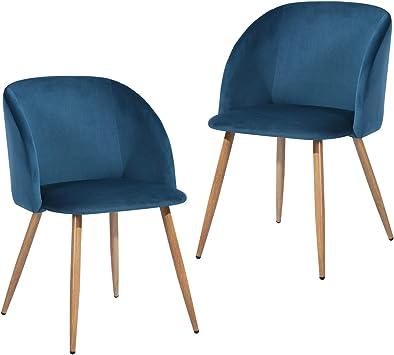 Style Scandinave pieds m/étal avec finition ch/êne clair Lot de 2 chaises fauteuils de salle /à manger salon en velours aqua