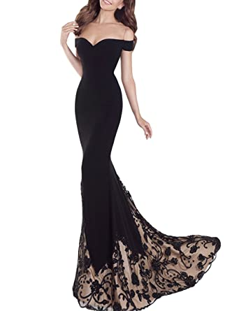 b7373c48396de SDRESS Women's Off The Shoulder Embroidered Mermaid Sweep Train Formal Prom  Dress Black Size 2