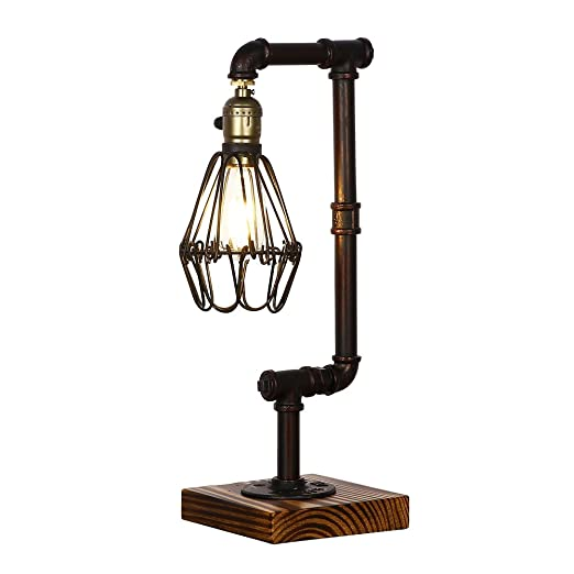 Injuicy Lighting Loft Vintage Industrial Water Pipe Wood Table Light E27 Edison Wrought Iron Desk Accent