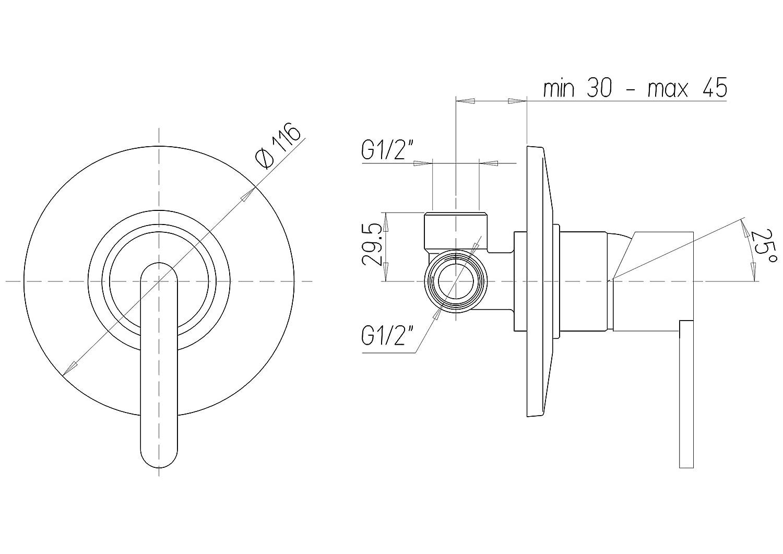 Gaia 690 Miscelatore Monocomando per Doccia da Incasso Paini Design accattivante finiture Cromate e brillanti interamente prodotto e lavorato in Italia