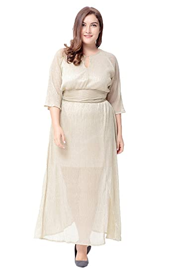 d183df5443 Bigood Women s Vintage Autumn Plus Size Half Sleeve Casual Party Dress 3XL