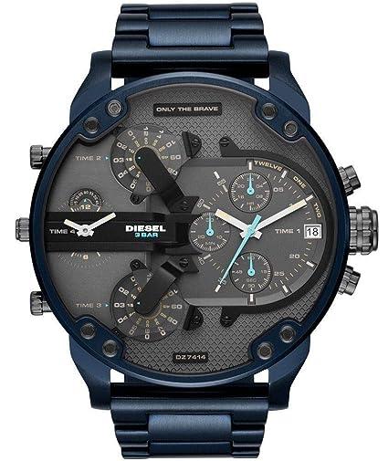 THENAUTICALMART Diesel DZ7414 Watches Mens Mr. Daddy 2.0 Chronograph Blue Stainless Steel Watch (Steel