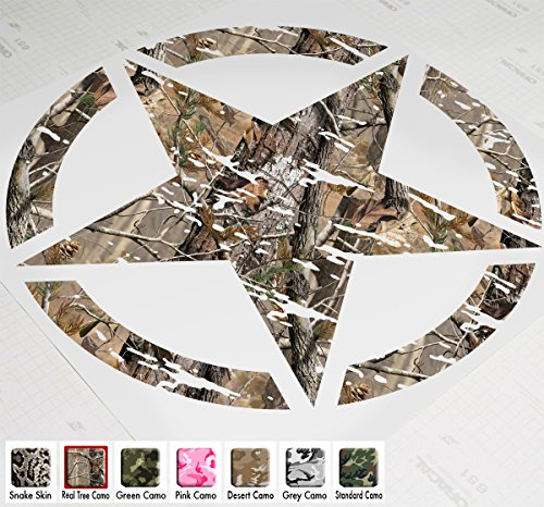 "22"" Jeep Wrangler Freedom Edition Star Hood Decal Sticker Premium Patterns (Real Tree Camo)"