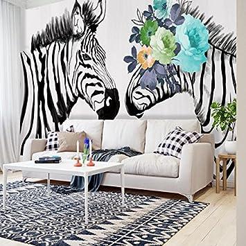 HUANG YA HUI Papiers peints Noir Et Blanc Zebra Jardin Salon ...
