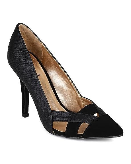 4e7460f65f Qupid Women Snakeskin Leatherette Strappy Pointy Toe Stiletto Pump CA99 -  Black Leatherette (Size: