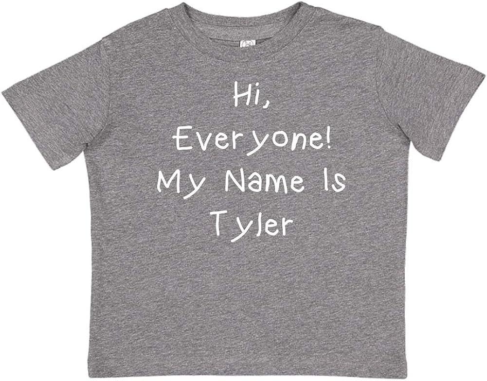 Mashed Clothing Hi Personalized Name Toddler//Kids Short Sleeve T-Shirt My Name is Tyler Everyone