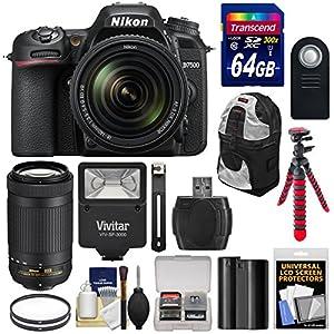Nikon D7500 Wi-Fi 4K Digital SLR Camera with 18-140mm VR & 70-300mm DX AF-P Lens + 64GB + Battery + Backpack + Filters + Tripod + Flash Kit