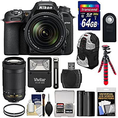 Nikon D7500 Wi-Fi 4K Digital SLR Camera with 18-140mm VR & 70-300mm DX AF-P Lens + 64GB + Battery + Backpack + Filters + Tripod + Flash Kit by Nikon